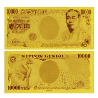 Japan Banknotes 24k Gold Leaf Plated Japan 10.000 Yen Gold Banknote Present For Business Or Collection