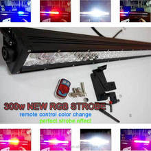 Color changing light bar RGB 288W 50 inch wireless remote control for offroad, truck, 4x4, atv led light bar purple