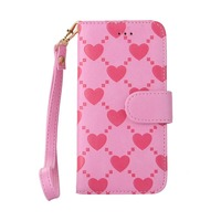 cute heart pattern leather cell phone case for iphone 6 plus cover