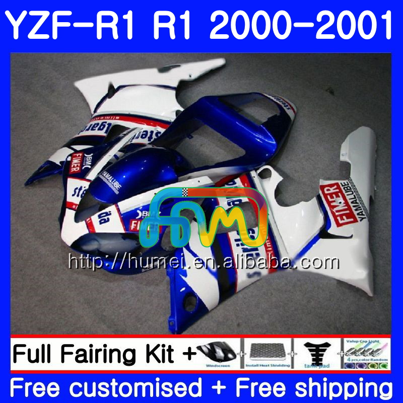 Bodywork For YAMAHA white blue YZF 1000 YZF-<strong>R1</strong> 2000 2001 Body 98HM42 YZF1000 YZF R 1 YZFR1 <strong>00</strong> 01 YZF-1000 YZF <strong>R1</strong> <strong>00</strong> 01 Fairing
