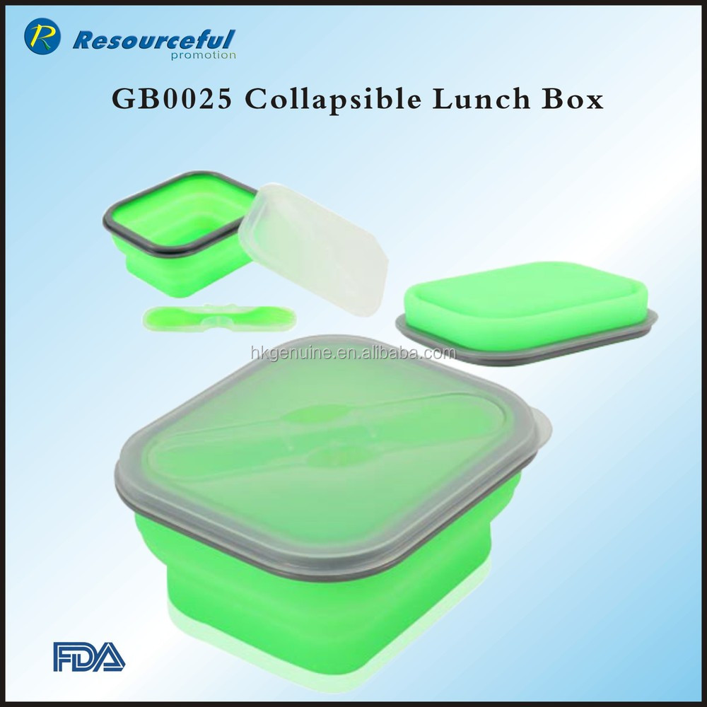 2015 wholsale 2 compartment silicone collapsible lunch box,silicone lunch container