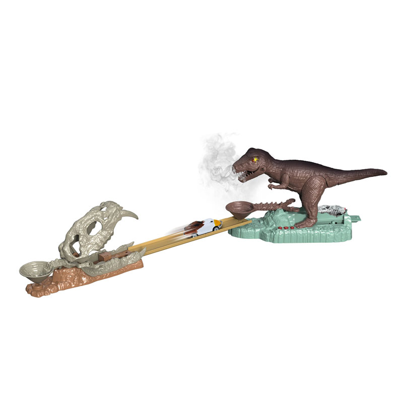 Dinosaur toys election race track car set with light