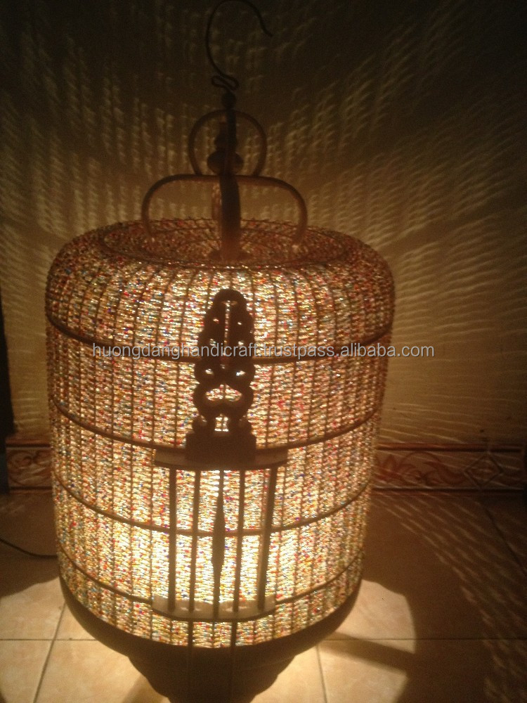 Bird Cage Lantern- Handmade from natural Bamboo- Full Set of Luminaires
