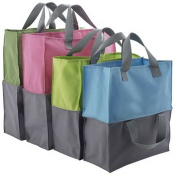 Custom foldable joint handled shopping tote bags for supermarket trolley