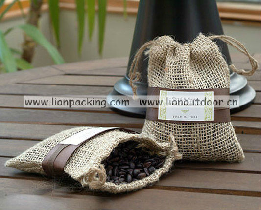 Jute pouch bag for package use enviroment friendly