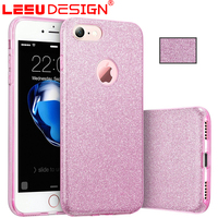 Newest luxury pc tpu 3 in 1 glitter crystal bling cell phone case for iphone 7 plus