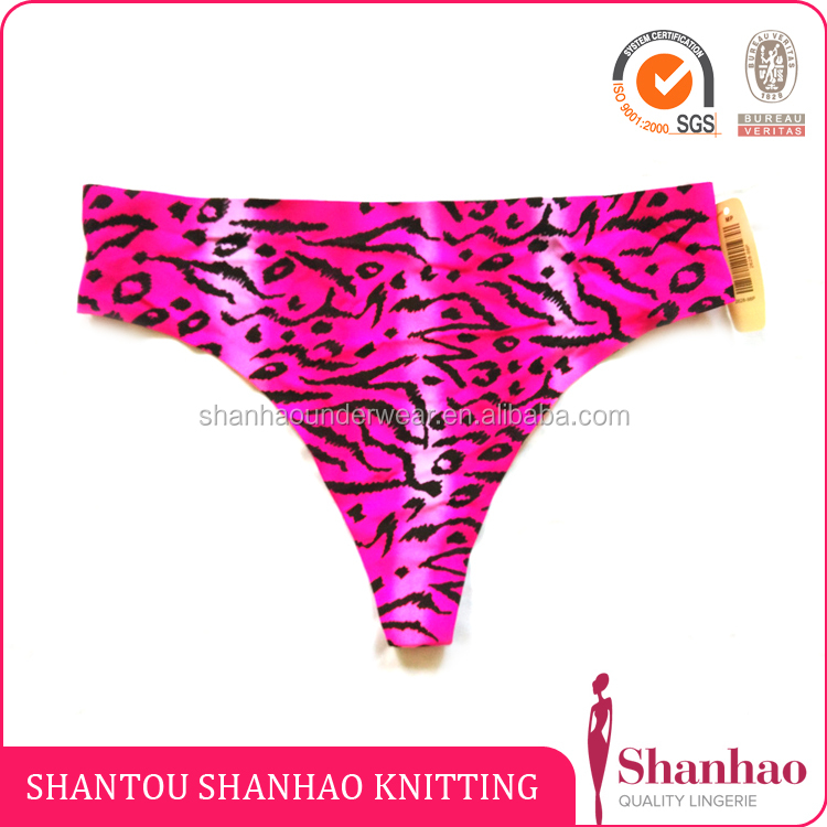 Women's animal prints laser-cut thong seamless invisible string nylon brief