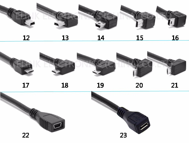 USB 2.0 A male left angle 90 degree to mini B 5pin usb cable sync data and charger cable