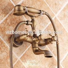 FLG top quality wall antique basin brass handle shower spray faucet