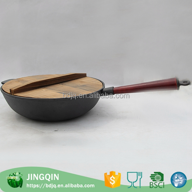 Wholesale custom fry pan enamel cast iron pan support