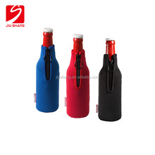 Christmas neoprene portable beer bottle cooler with stitching edge