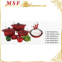red gradients color enamel coated cast iron cookware