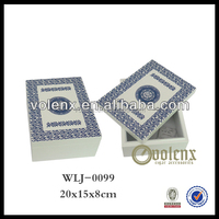 Shenzhen White Blue Small Wooden Boxes Craft To Decorate