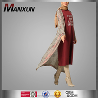 Hot Sell Latest Abaya Designs 2016 Popular Two Piece Sets Muslim Ladies Dress Long Sleeves Maroon