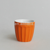 orange color glazed ceramic mini beer mugs