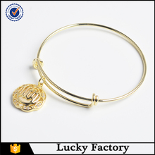 2016 newest imitation jewellery simple design 18k gold circle bangle