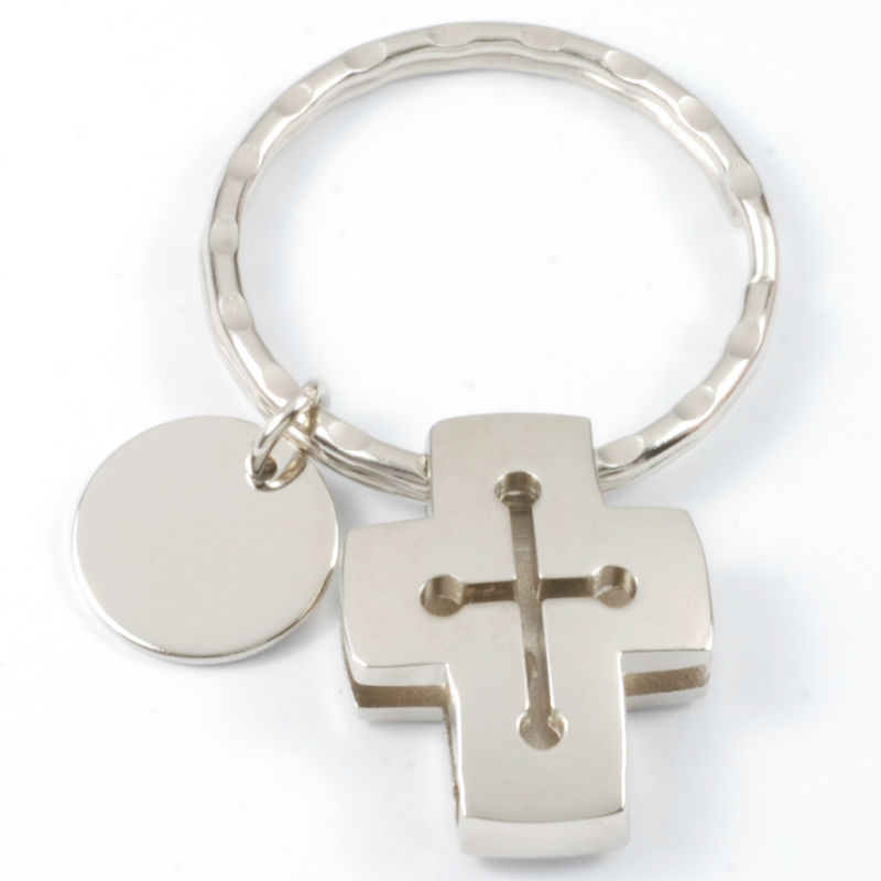 OEM Factory direct price 3D Cross Metal Keychain Key ring
