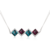 Wholesale Silver Jewelry OUXI Colored Diamond Necklace