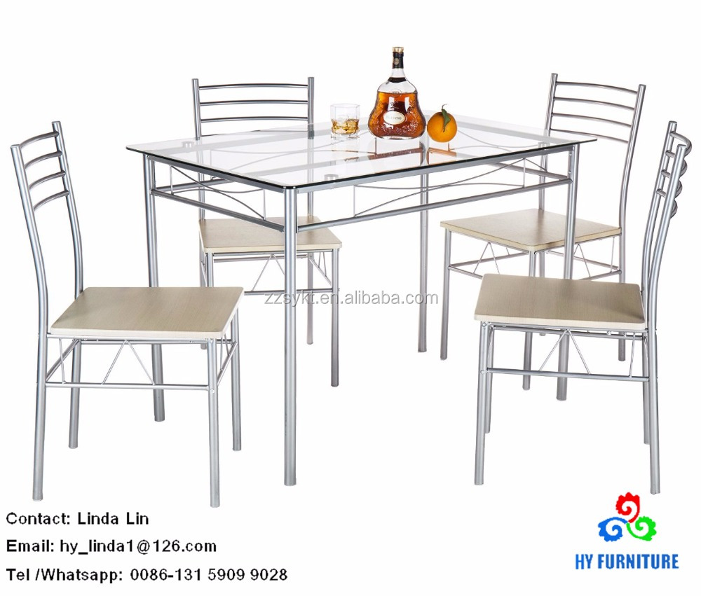 Metal frame dining table set kitchen breakfast table set with 4 chairs wholesale