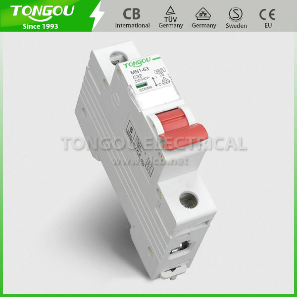 TOMN1-63 1P 6-63A Curve B C D MCB types of circuit breakers