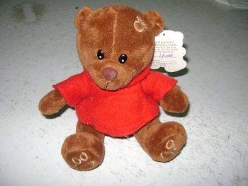 20cm cheap&promotional soft brown plush teddy bear with red skirt