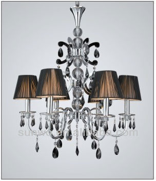 Black Crystal Pendant Plastic Shade Chandelier