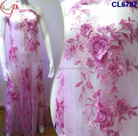 CL6787 3D embroidery hot sale fashion new design net lace for making wedding dress or important party dress lace