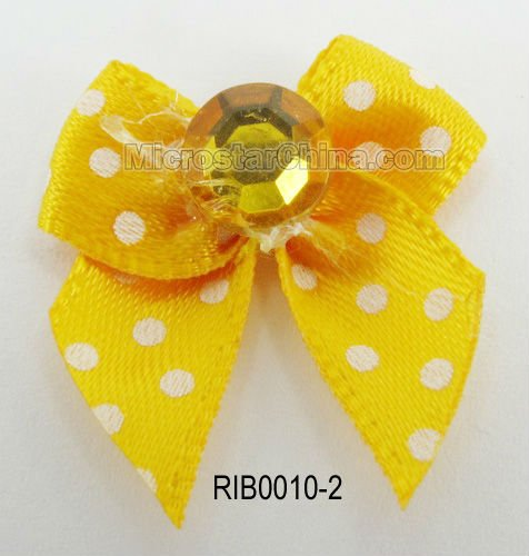 Best sales stain fabric yellow bowknot with rhinestone ribbon flowers