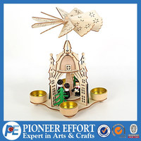 wooden house church chrismtas singers candle holder square with 4 arms wooden pyramid with windmill