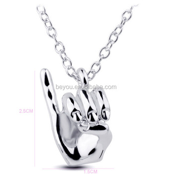 AKA pinkie up necklace Hip Hop Hand Pendant Necklace Choker Jewelry palm necklace