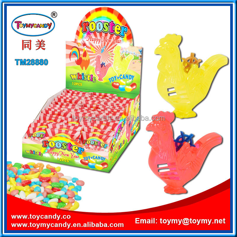 plastic EN71 rooster toy with candy whistle rooster