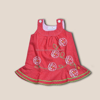 100 percent cotton big flower embroidery red sleeveless baby girl dress