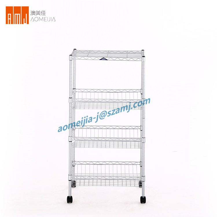 Eco-Friendly Home use Three tires wire metal shelving rack for sale