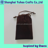 Rat tail ribbon drawstring dark brown velvet Jewelry pouches