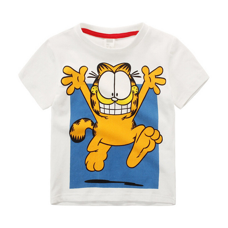 2015 Summer Style Boys Clothes Cotton Garfield Cartoon Boys T-Shirts Short-Sleeve Kids Fashion Children Clothing Boys Tops&Tees