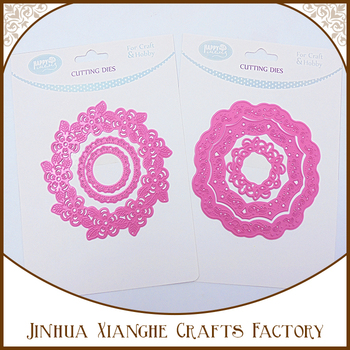 Pink Color Round Shape Cutting Die Metal Stencil for Scrapbooking