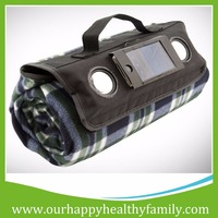 Custom Waterproof Outdoor Camping Polar Fleece Picnic Blanket with Speaker