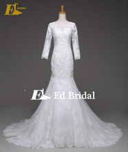 2017 Long Sleeve See-through Back Mermaid Lace Applique Covered Button Back Wedding Dress