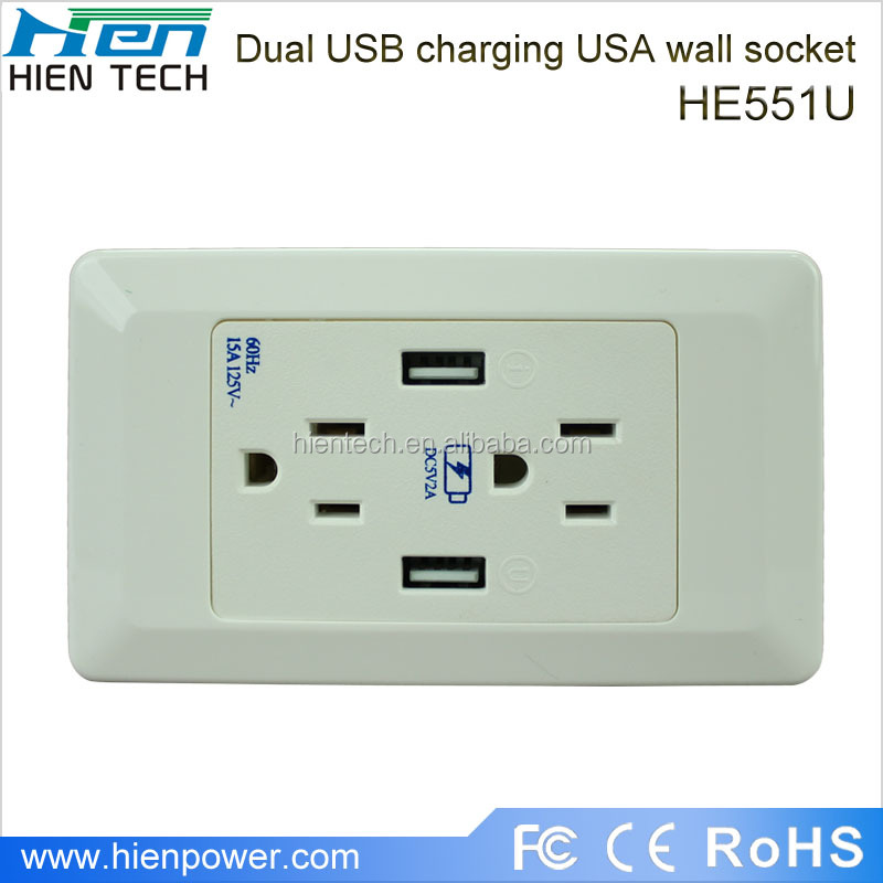 15A portable battery powered outlet USA plug type with 2 USB ports 2 gang socket