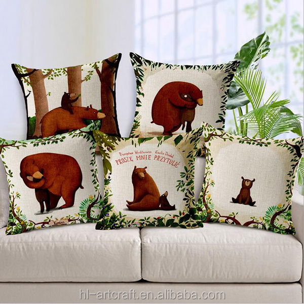 Cozy and lovely bear style batik cushion cover