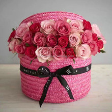 Wholesale New arrival woven round flower hatbox , Weave Round Flower hat box with lid