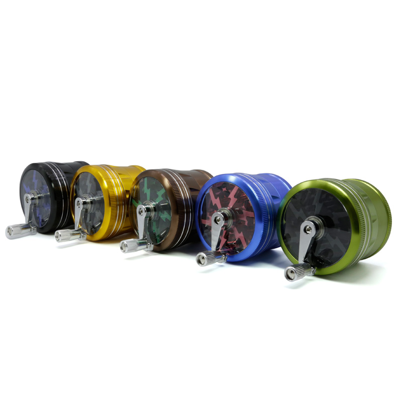 Mettle Colorful New Style 4 Layers Aluminum Alloy Herb Grinder Lighting Smoke Tobacco Grinder With <strong>Handle</strong>