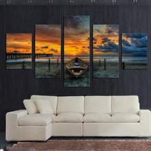 Modern Boat on Beach and Sunset Seascape Canvas Prints Oil Painting