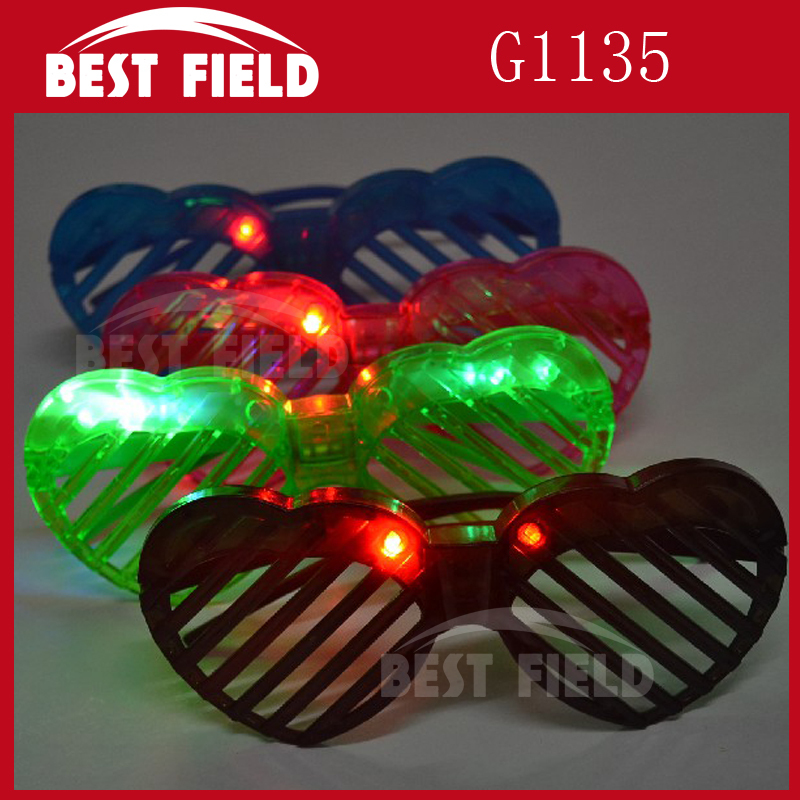 4pcs color 4led heart LED shutter glasses