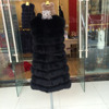 Classic European Sleeveless Silver Fox Fur Vest / Black Sexy Coat
