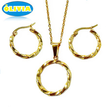 Olivia China Hot Sale Fashion Dubai Girl Sex Photos Stainless Steel Necklace Set