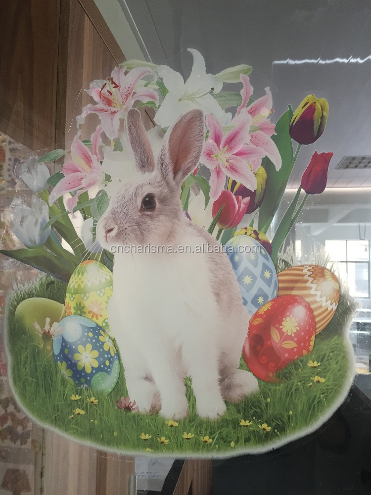 Easter window sticker rabbit static cling decal