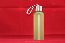Wholesale High Grade BPA Free Frosted Glass Water Bottle With stainless steel Screw Cap 17oz