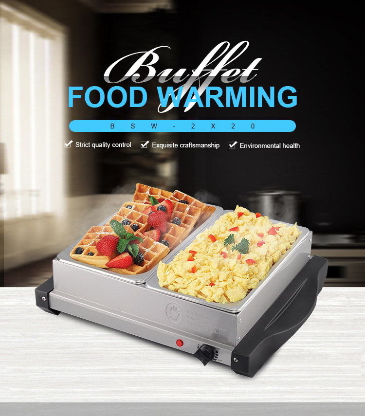 2 Tray Stainless Steel Plate Warmer Buffet Server and Warming Tray