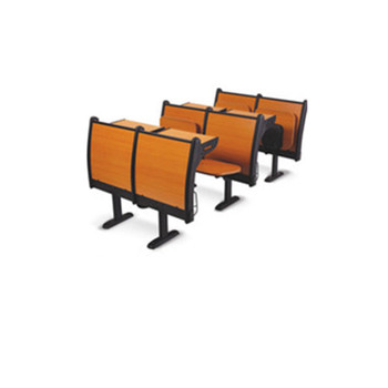 Schoool furniture cheap wooden step chair, University used school chairs with tables attached